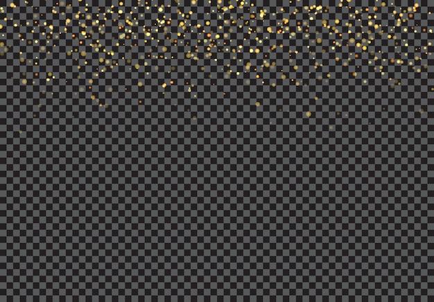 Goldfallende glitzerpartikel bewirken einen transparenten hintergrund