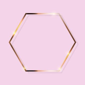 Goldfarbe glitzernder strukturierter rahmen auf transparentem hintergrund. illustration