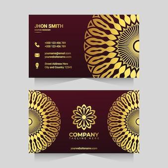 Goldfarbene luxus-mandala-visitenkartenvorlage