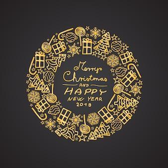 Goldfarbene weihnachtskreisdekoration mit handgezeichneten motiven. fröhliche weihnachten eingeschlossen