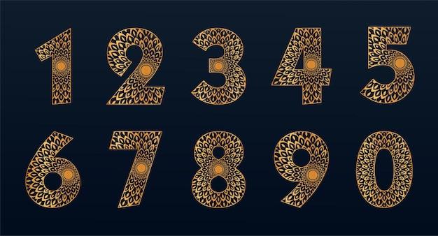 Goldfarbene zahlenkollektion mit mandala-design