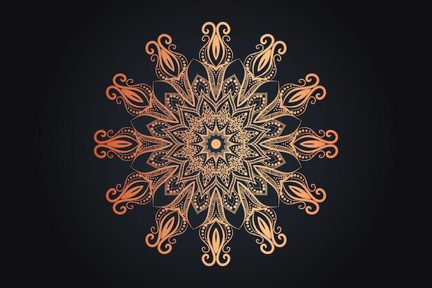 Goldfarbenes luxuriöses dekoratives mandala-design Premium Vektoren