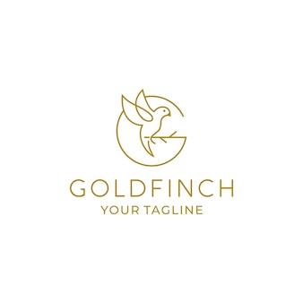 Goldfinch line logo design-vorlage