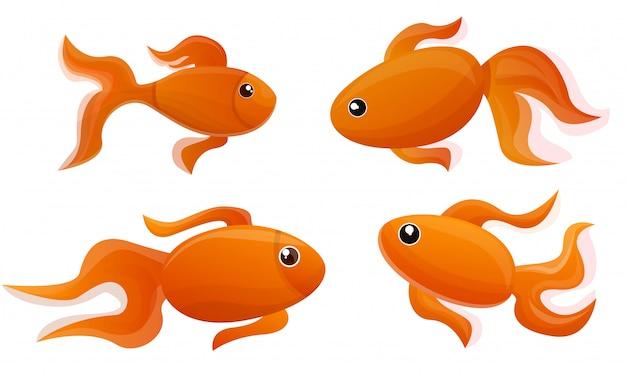 Goldfisch-icon-set. karikatursatz goldfischvektorikonen für webdesign