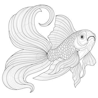 Goldfish.malbuch antistress für kinder und erwachsene. illustration isoliert auf weißem hintergrund. schwarz-weiß-zeichnung