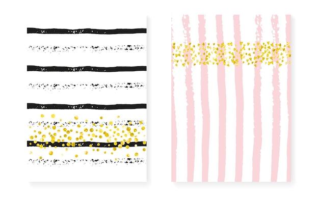 Goldfolienschimmer. rose romantische illustration. feier-partikel-set. rosa festliche karte. streifenzauberkunst. goldener spritzer. schwarze abdeckung. goldener goldfolienschimmer