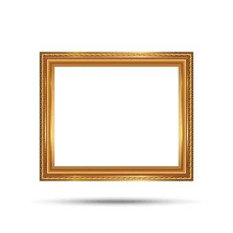 Goldfotorahmen mit der ecklinie blumenbilderrahmen lokalisiert auf weißem hintergrund.