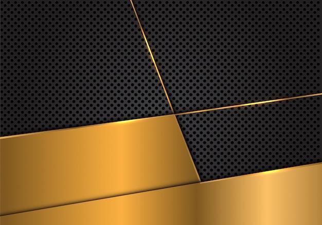 Goldfreier raum auf dunkelgrauem kreismaschenhintergrund.