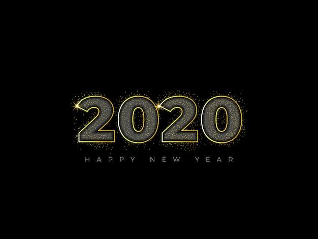 Goldfunkelnbeschaffenheit auf einem schwarzen guten rutsch ins neue jahr 2020