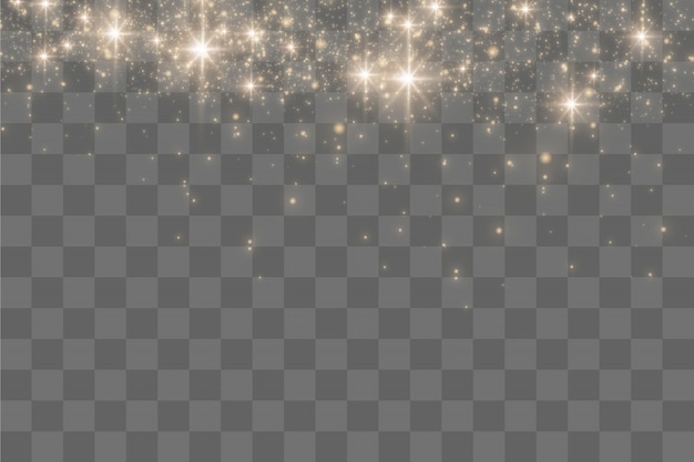 Goldfunken und goldene sterne glitzern mit besonderem lichteffekt, funkeln