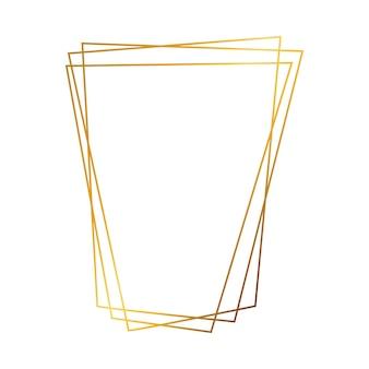 Goldgeometrischer polygonaler rahmen mit glänzenden effekten lokalisiert auf weißem hintergrund. leere leuchtende art-deco-kulisse. vektor-illustration.