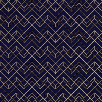 Goldgeometrisches muster zeichnet blauen hintergrund