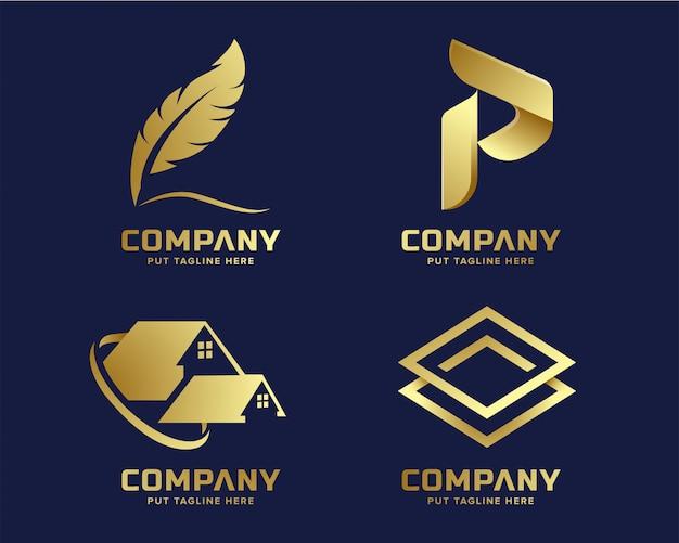 Goldgeschäftsluxus und elegante logoschablone mit abstrakter form