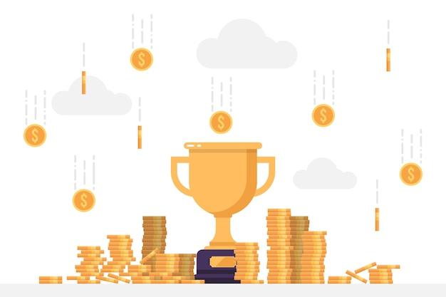 Goldgewinner-trophäe unter einem regen von münzen