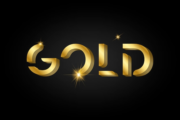 Goldglänzende metallische typografie