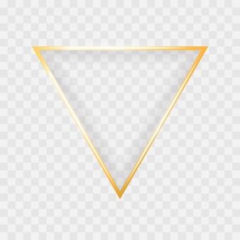 Goldglänzender glühender dreieckrahmen lokalisiert auf transparentem hintergrund