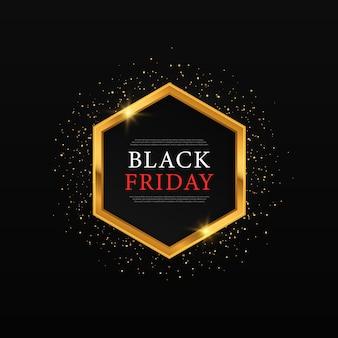 Goldglänzender leuchtender rahmen für den schwarzen freitag goldglänzende rahmen für den verkauf