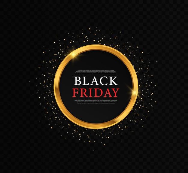 Goldglänzender leuchtender rahmen für schwarzen freitag runder rahmen für den verkauf mit sternen