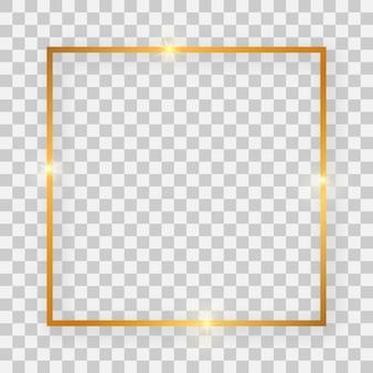 Goldglänzender quadratischer rahmen mit leuchtenden effekten und schatten auf transparentem hintergrund. vektor-illustration