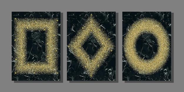 Goldglitter auf marmorhintergrundschablonen für gruß- und geburtstagskarten und abdeckungen