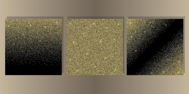 Goldglitter auf schwarzem hintergrundabdeckungssatz abstrakte vorlage für grußkarteneinladung