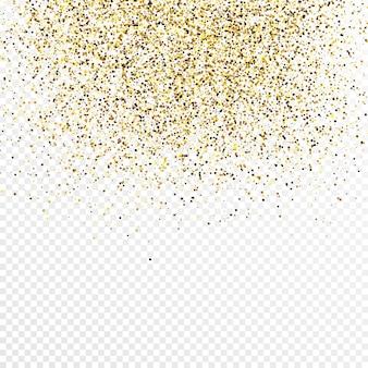 Goldglitter konfetti hintergrund isoliert auf weißem transparentem hintergrund. feierliche textur mit leuchtendem lichteffekt. vektor-illustration.