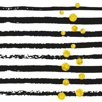 Goldglitter konfetti mit punkten auf schwarzen streifen. glänzende fallende pailletten mit schimmer und funkeln. vorlage mit goldglitter konfetti für grußkarten, brautduschen und save the date einladung.