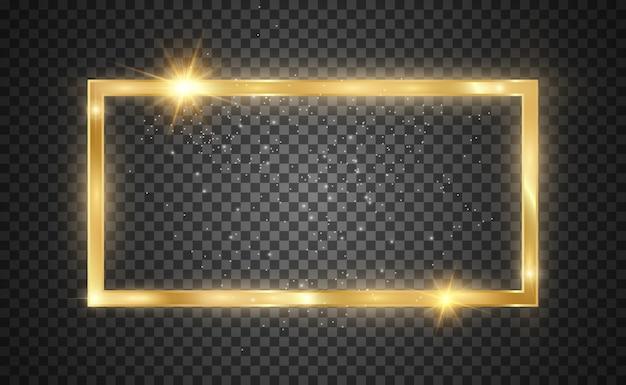 Goldglitter mit glänzendem goldrahmen auf einem transparenten schwarzen hintergrund. luxus goldenen hintergrund.