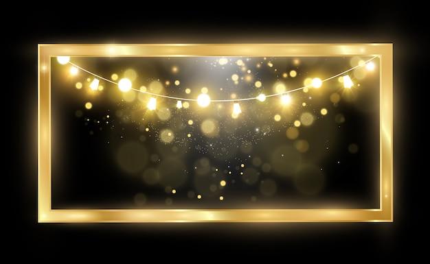 Goldglitter mit glänzendem goldrahmen auf einem transparenten schwarzen hintergrund luxusgoldhintergrund
