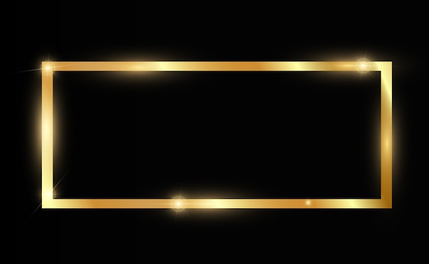 Goldglitter mit glänzendem goldrahmen auf einem transparenten schwarzen hintergrund