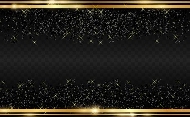 Goldglitter mit glänzendem goldrahmen auf einem transparenten schwarzen hintergrund.