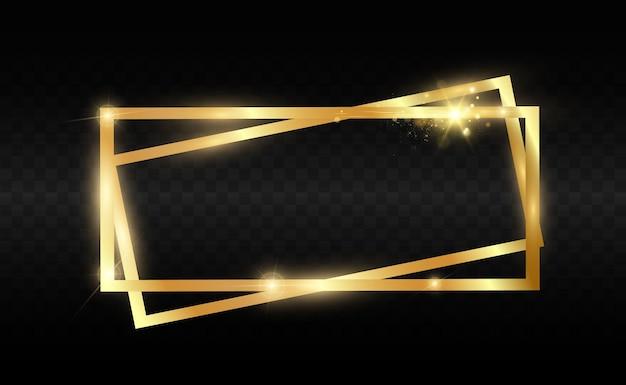Goldglitter mit glänzendem goldrahmen auf transparent.
