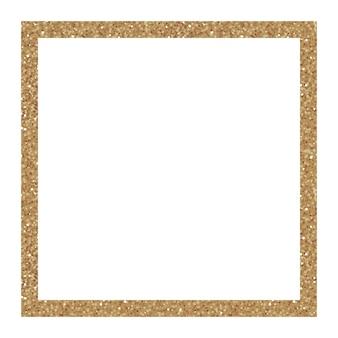 Goldglitter quadratischer rahmen mit funkeln auf weißem hintergrund. trendige elemente für ihr design. vektor-illustration.