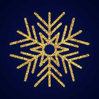 Goldglitter-schneeflocke auf dunkelblauem hintergrund. weihnachts- und neujahrsdekorationselemente. vektor-illustration.