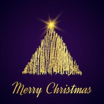 Goldglitter weihnachtsbaum im skizzenstil auf dunkelviolettem hintergrund. frohes neues kartendesign. vektor-illustration.