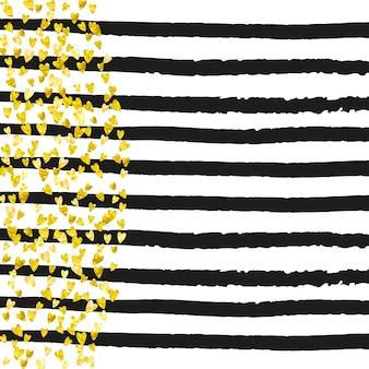 Goldglitterherzkonfetti auf schwarzen streifen. glänzende zufällig fallende pailletten mit schimmer. vorlage mit goldenen glitzerherzen für partyeinladung, banner, grußkarte, brautdusche.
