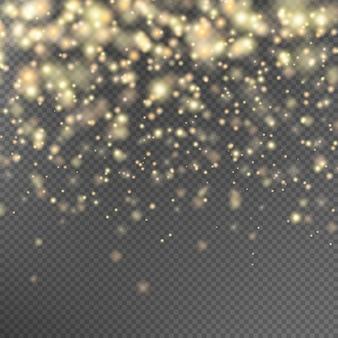 Goldglitterpartikeleffekt.