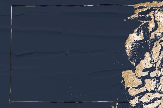 Goldglitterrahmen auf marinehintergrund