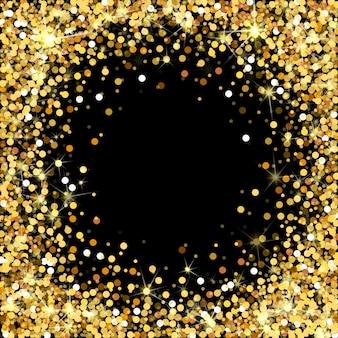 Goldglitterrahmen auf schwarzem hintergrund