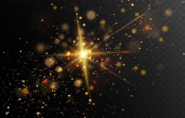 Goldglitterstaub auf dunklem hintergrund mit lens flares und lichteffekten