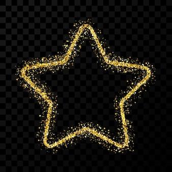 Goldglitterstern mit glänzenden funkeln auf dunklem transparentem hintergrund. vektor-illustration