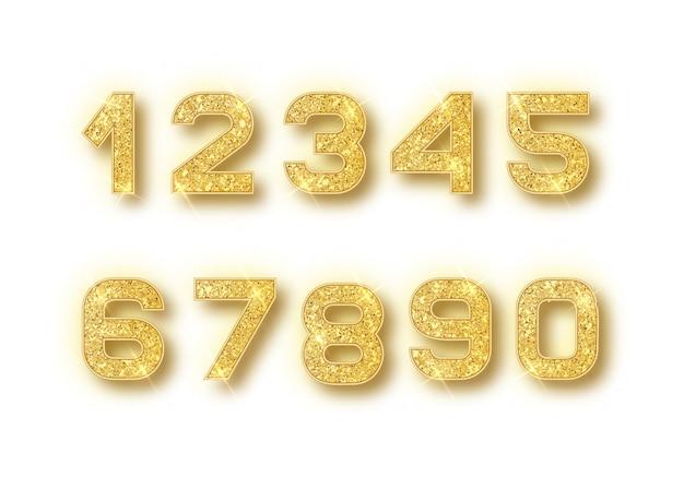 Goldglitzernummern eingestellt mit schatten