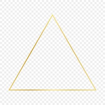 Goldglühender dreieckrahmen lokalisiert auf transparentem hintergrund. glänzender rahmen mit leuchtenden effekten. vektor-illustration.