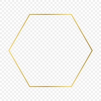 Goldglühender hexagonrahmen lokalisiert auf transparentem hintergrund. glänzender rahmen mit leuchtenden effekten. vektor-illustration.