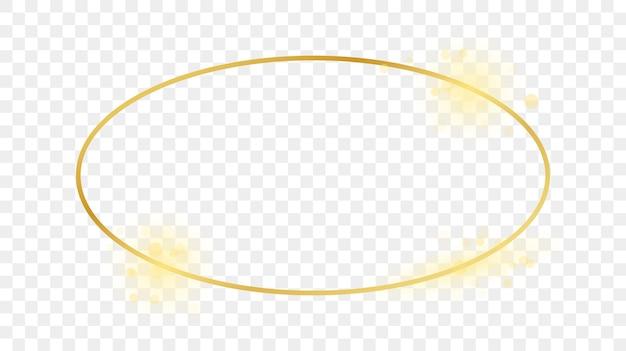Goldglühender ovaler formrahmen lokalisiert auf transparentem hintergrund. glänzender rahmen mit leuchtenden effekten. vektor-illustration.
