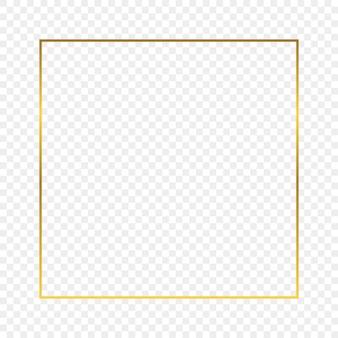 Goldglühender quadratischer rahmen lokalisiert auf transparentem hintergrund. glänzender rahmen mit leuchtenden effekten. vektor-illustration.