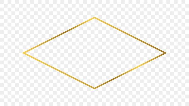 Goldglühender rautenformrahmen lokalisiert auf transparentem hintergrund. glänzender rahmen mit leuchtenden effekten. vektor-illustration.