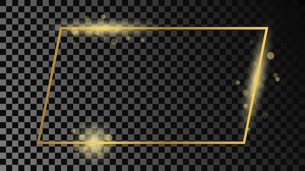 Goldglühender rechteckiger formrahmen lokalisiert auf dunklem transparentem hintergrund. glänzender rahmen mit leuchtenden effekten. vektor-illustration.