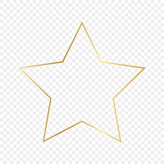 Goldglühender sternformrahmen lokalisiert auf transparentem hintergrund. glänzender rahmen mit leuchtenden effekten. vektor-illustration.