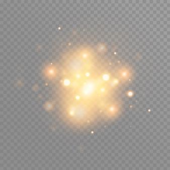 Goldglühpartikel bokeh. glitzereffekt. voller funkeln. gold funkelnde glitzer und sterne. festliche illustration von glänzenden partikeln. feuersterne isoliert auf transparent.